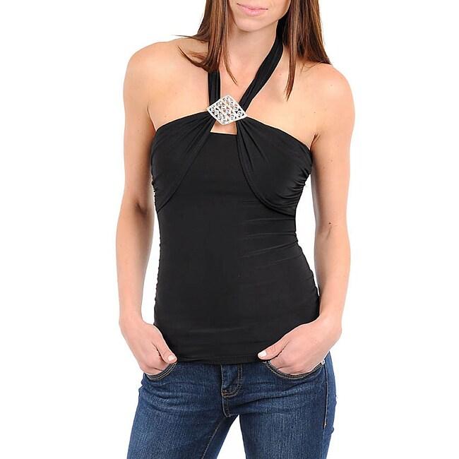 Stanzino Women's Black Halter Jeweled Top