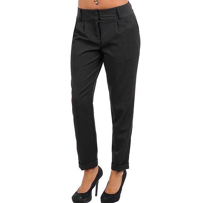 Stanzino Women's Black Cuffed Pleated Pants