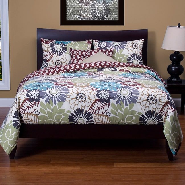Blooming Bulb Harvest Reversable 6-piece Calfornia King Duvet Set