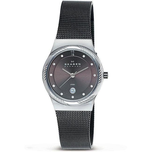 Skagen Women's Silvertone Twisted Topring Charcoal Grey Mesh Watch