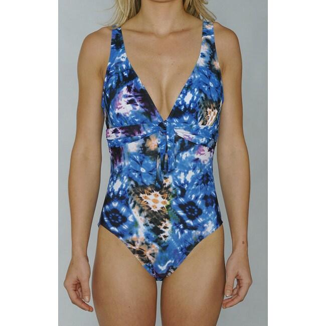 Island Love Women's 1-Piece Swimsuit in Blue Tye Dye
