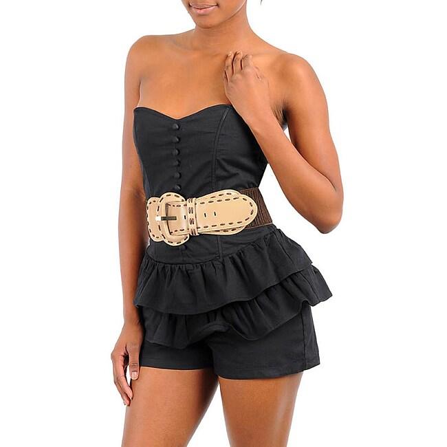 Stanzino Women's Black Belted Strapless Romper