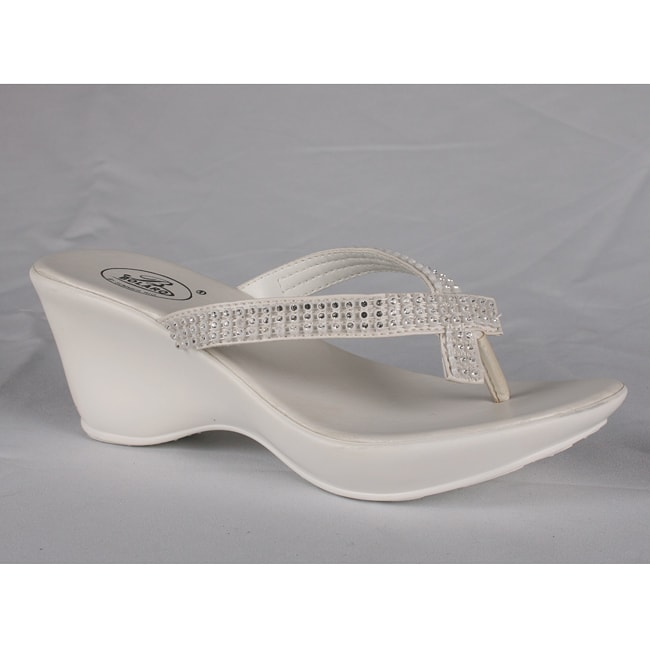 Bolaro by Beston Women's White Wedge Thong Sandals