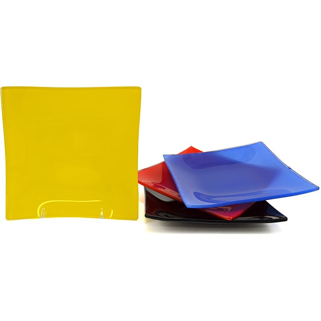 Primary Colors Tempered Glass Dessert/Salad Plate Set