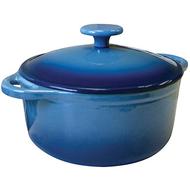 Le Cuistot Heritage Enameled Cast Iron 2.75-quart Two-tone Light Blue Round Dutch Oven