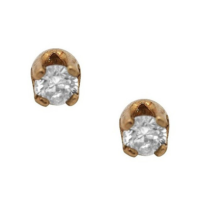 Gioelli 14k Yellow Gold Diamond Accent Earrings
