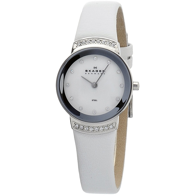 Skagen Women's Mother of Pearl White Leather Strap Watch