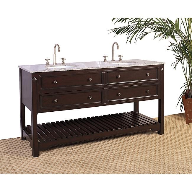 Granite Top 68-inch Double Sink Bathroom Vanity