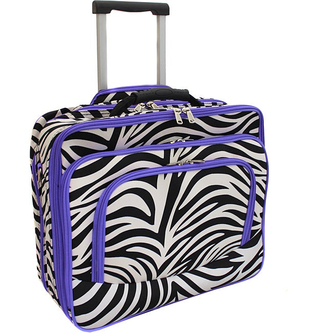 World Traveler Purple Trim Zebra Fashion Print Womens Rolling 17 inch