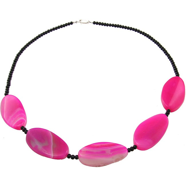 Sterling Silver Pink Agate and Black Agate Bead 20-inch Necklace