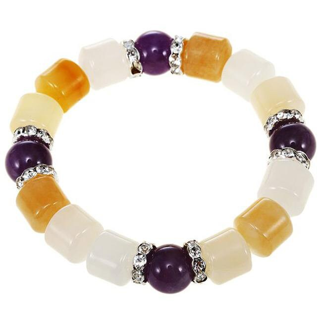 Purple Quartz & Yellow Aventurine Bangle Bracelet (China)