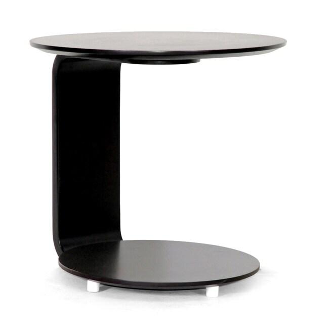 Woodard Dark Brown Wood C-shaped End Table