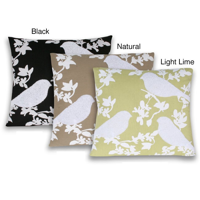 Thro Terry Bird/ Leaf Print Square Decorative Pillow - 14230383 - Overstock.com Shopping - Great ...