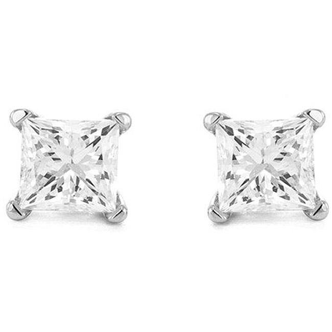 14k Gold 1/2ct TDW Princess Diamond Solitaire Stud Earrings (H-I, I2-I3)