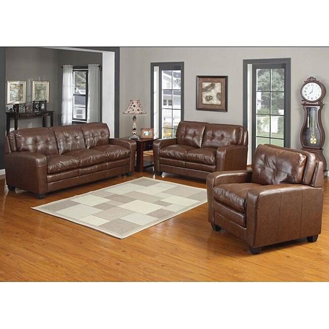 Edward Bonded Leather Sofa Set