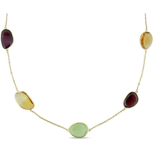 Miadora 18k Yellow Gold 87 3/4ct TGW Multi-gemstone Fashion Necklace