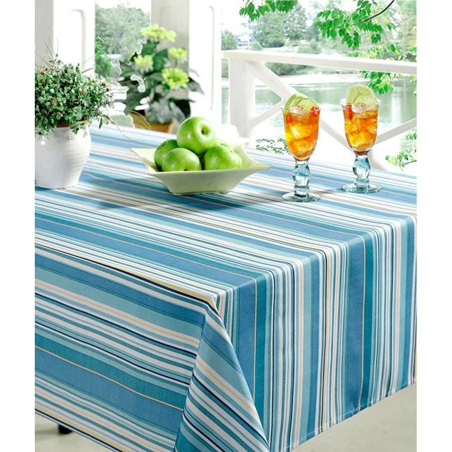 Technicolor Stripes Print 60x84-inch Indoor/Outdoor Rectangular Tablecloth