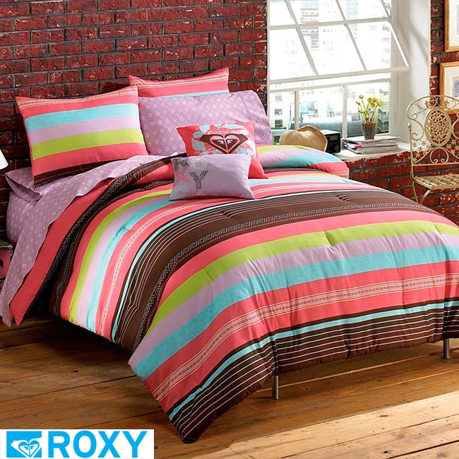 roxy summer stripe full size 9 piece bed in a bag with sheet set 14238058. Black Bedroom Furniture Sets. Home Design Ideas