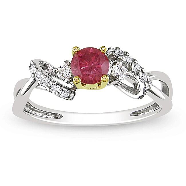Miadora 14k Two-tone Gold 3/8ct TDW Pink and White Diamond Ring (H-I, I1-I2)