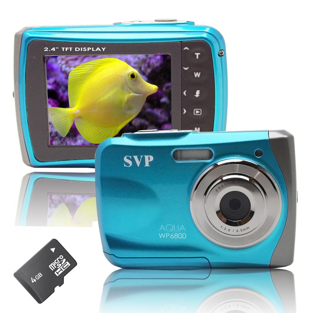 SVP WP6800 18MP Blue Waterproof Camera with 4GB Micro SD