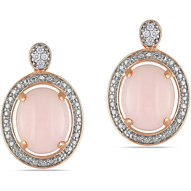 Eziba Collection Miadora Pink Goldplated Silver 3 5/8ct TGW Pink Opal and Diamond Earrings (H-I, I3) at mygofer.com