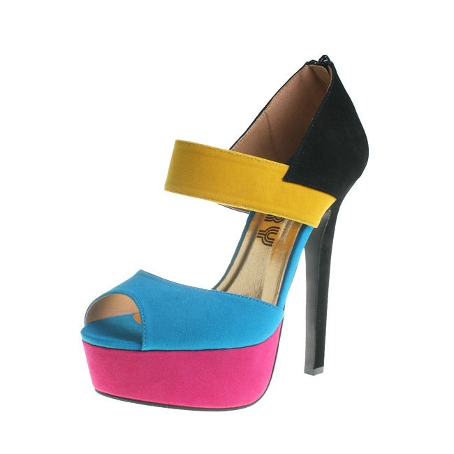 Refresh By Beston Women's CAPRI Multi-Colored Platform Heels