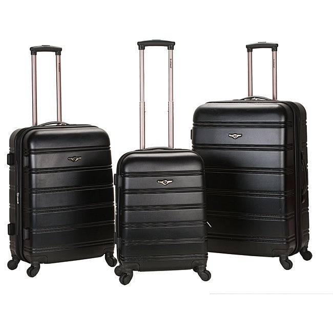 Rockland Melbourne Super Light Weight Black 3-piece Expandable Hardside Spinner Luggage Set