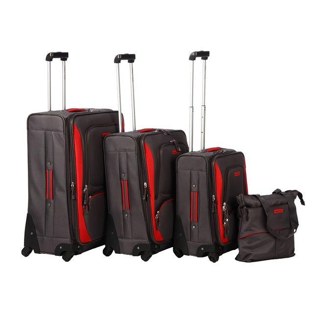 Nautica Downhaul Classic Grey/ Red 4-piece Luggage Set