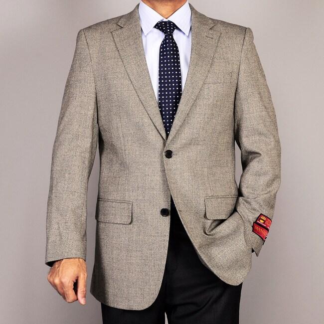 Men's Light Taupe 2-Button Wool Sport Coat