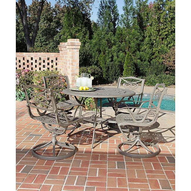 Home Styles Malibu Cast Aluminum Taupe 5-piece Outdoor Dining Set