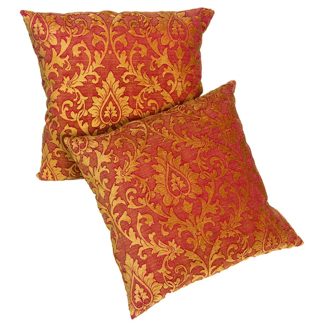 Red/Gold Chenille Damask 18-inch Pillows (Set of 2)