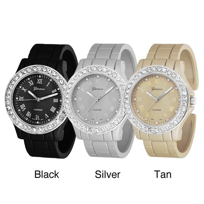 Geneva Platinum Women's Rhinestone Roman Numeral Cuff Watch