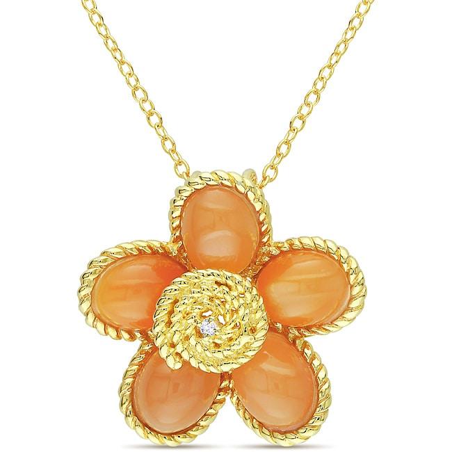 Miadora Gold-plated Silver 8-1/2ct TGW Moonstone & Diamond Accent Flower Pendant