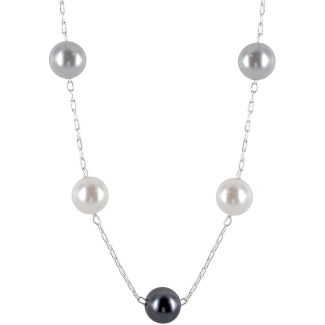 Roman Silvertone Grey, Black and Cream Faux Pearl Necklace