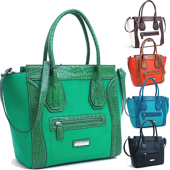 Dasein Large Tote with Croco Trim and Detachable Shoulder Strap