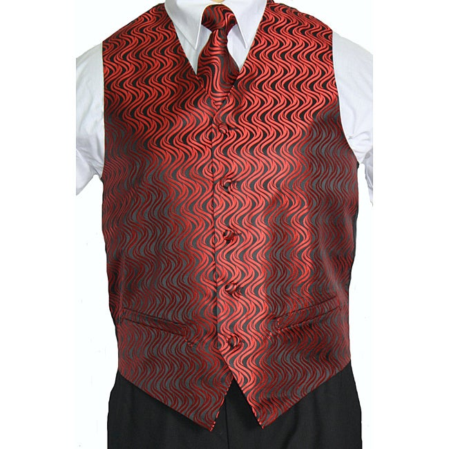 Ferrecci Men's Red/Black Vest Tie Accessory 4-piece Set