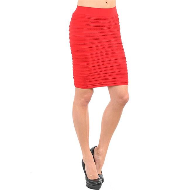 Stanzino Women's Red Wrinkle Seamless Skirt