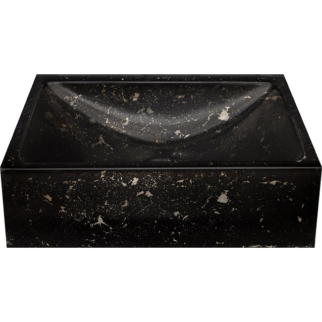 Half Moon Concrete Black/ White Vessel Bathroom Sink