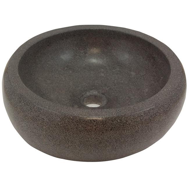 Round Concrete Grey Vessel Bathroom Sink