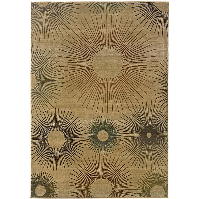 Sydney Beige/ Rust Contemporary Area Rug (9'9 x 12'2)