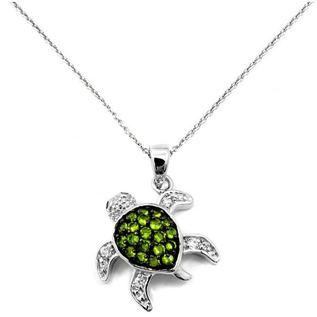 ABO Enterpises Cubic Zirconia Green Pave Turtle Pendant Necklace
