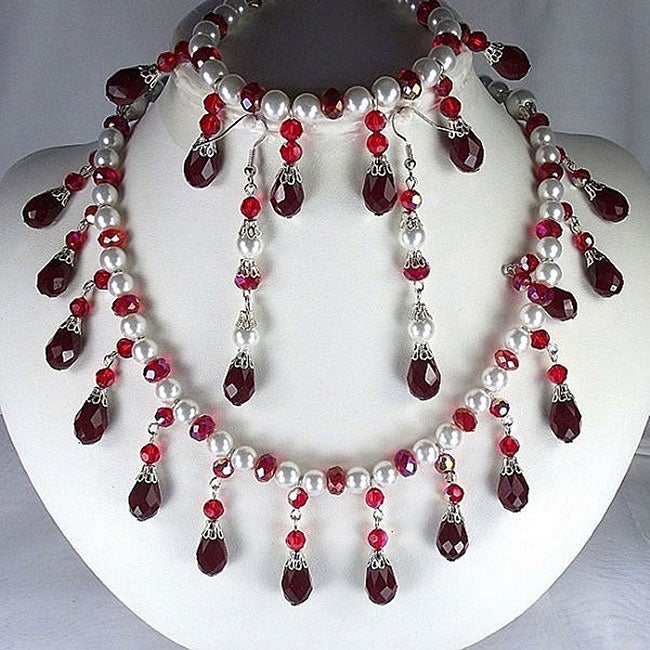 Deep Red Vevet Crystals and White Pearl Jewelry Set