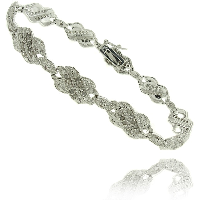Eziba Collection Silver Overlay 1ct TDW Diamond Double 'X' Bracelet at mygofer.com