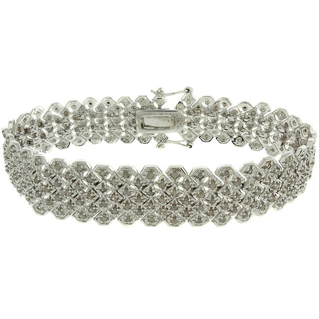 Eziba Collection Silver Overlay 2ct TDW Diamond Pave Bracelet at mygofer.com