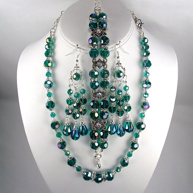 Emerald Green Crystal Wedding Jewelry Set