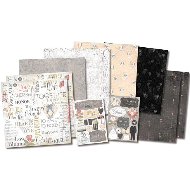 """Karen Foster The Happy Couple Page Kit 12""""X12""""-8 Papers, 2 Sticker Sheets"""