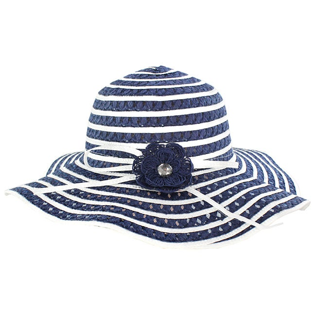 Women's Blue/ White Floral Straw Hat