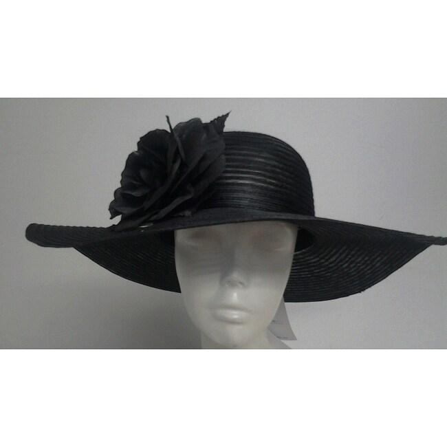 Swan Women's Black Crinoline Flower-topped Floppy Hat