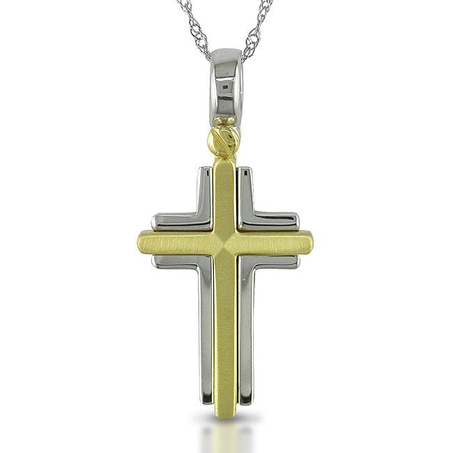 Miadora 14k Two-tone Gold Cross 17-inch Necklace