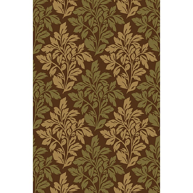 Bradford Floral Brown Non-skid Rug (6'6 x 9'2)